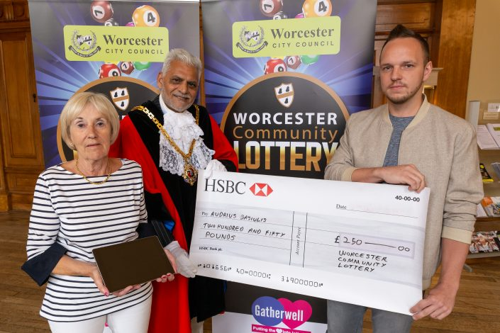 The Mayor presents prizes to winners of the Worcester Community Lottery