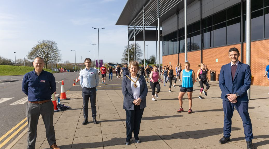 Outdoor exercise class at Perdiswell Leisure Centre